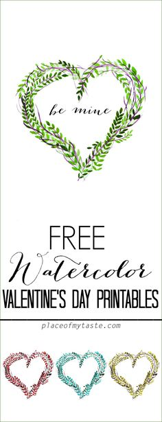 FREE WATERCOLOR valentine's day printables -