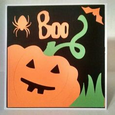Colorful Boo card. Made using Cricut Expression Wild Card Cartridge.