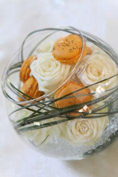 centre de table mariage macaron