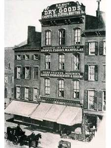 10/27/1858 - Where Macy's got its modeststart  $11.06. That amount was reportedly what Rowland Hussey Macy earned on the first day his new dry-goods store opened for business in a small building on the corner of Sixth Avenue and Fourteenth Street in 1858. It became a full-fledged department store in 1877 and eventually occupied many storefronts along West 14th Street (like the one in the photo at left).