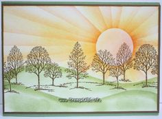 handmade greeting card ... sunrise scene ... Lovely as a Tree... like the sponging technique used to create the sunrays ... Stampin' Up!