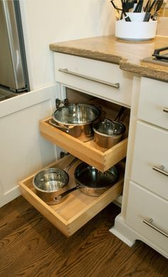 Every cabinet should have pull out drawers, especially for pots and pans!
