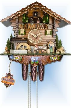 Chalet style 8 day Chopper & Hunter cuckoo clock by Adolf Herr Coo Coo Clock, Mechanical Clock, European Decor, Chalet Style, Black Forest, Cuckoo Clocks, Hand Carved, Carving, House