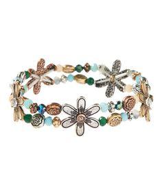 Love this Tri-Tone Beaded Floral Stretch Bracelet on #zulily! #zulilyfinds