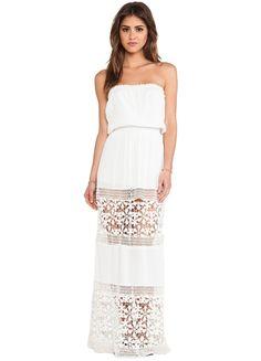 Posh Girl White Strapless Lace Maxi Dress