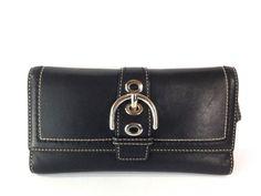 Coach Soho Hampton Large Buckle Wallet Check Book Organizer Glove Black Leather #Coach #Trifold