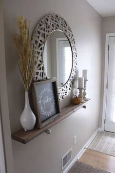 Wall Shelf and Mirror Grouping