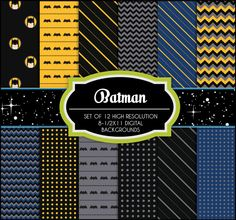 Batman Inspired - 12 Digital Backgrounds - Printable - Scrapbooking, Birthday, Invitations. $4.25, via Etsy.