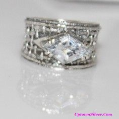 Silpada Israel Artisan Jewelry Size 9 - 9.5 Marquise Cubic Zirconia 925 Sterling Silver Wide Woven Band Ring Rare Retired