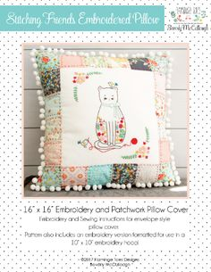 Use this stitching friends embroidered pillow pattern to bring some color and fun to your home! This pillow is so cute and fun to make! Pillow Embroidery, Hand Embroidery Patterns, Cross Stitch Patterns, Patchwork Pillow, Quilted Pillow, Best Pillows For Sleeping, Place Mats Quilted, Tooth Fairy Pillow, Sewing Projects