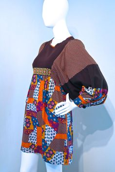 Vtg 60s 70s Cossack sleeve mini dress smock by VicAndBertieVintage