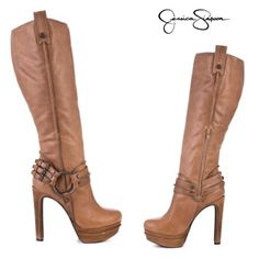"""Jessica Simpson Leather Boots Sz.5.5,6 -OR-**ISO** Worn once, these boots are Sz.5.5 .it can fit comfortably Sz.6  color name is """"wheat"""" ........                                        .....   ..        .. .....  OR I would like to trade these for a 6.5         These are GENUINE LEATHER Jessica Simpson Shoes Heeled Boots"""