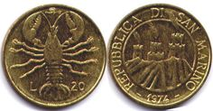 Республика Сан-Марино. 20 лир, 1974 год.