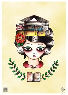 Librarian Book Lady Giclee Art Print