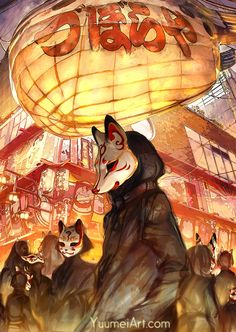 """yuumei-art: """"I visited Shinsekai (translation: New World) in Osaka, Japan in October and the unique history of the city was very fascinating. Fantasy Kunst, Fantasy Art, Anime Kunst, Anime Art, Mascara Anime, Kitsune Maske, Mononoke Anime, Yuumei Art, Arte Indie"""