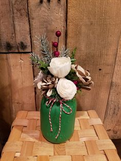 Christmas Mason Jar, hand painted with wood flowers.  Perfect for the holiday table, mantle, centerpiece.  Rustic, shabby chic, farmhouse.