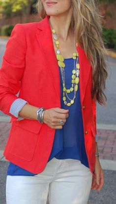 Transition style by TeodorasLookbook.com; red blazer, cobalt top and white jeans