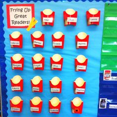 Bulletin board to monitor reading progress/homework and give incentive. Paper fries go in to keep track of when students bring back their reading homework.