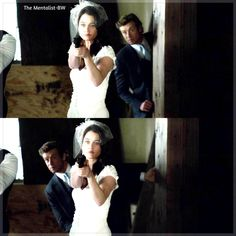 Of course Lisbon kicks @$$ in her wedding dress while Jane hides behind her after he started all of the trouble in the first place. This pretty much sums up their entire relationship. XD