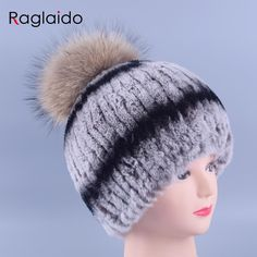51.98$  Buy here - http://alisdn.worldwells.pw/go.php?t=32681191271 - Winter Pompom Hats for Women Real Fur Fluffy Rex Rabbit Beanie Hats Handmade Caps Raccoon Fur Beanies Warm Casual Tops LQ11141 51.98$