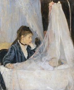 """Berthe Morisot - """"La cuna"""" (1872, óleo sobre lienzo, 56 x 46 cm, Museo d'Orsay, París) Esta chica que contempla arrobada a su bebé es Edma, la hermana de Berthe Morisot. Sus padres apoyaron a las dos hermanas en su proyecto de convertirse en pintoras..."""