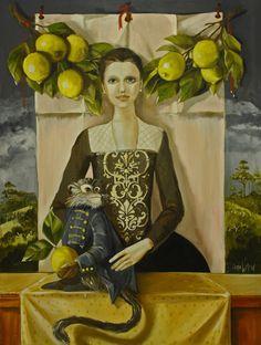 yellow - woman and monkey - Diana Watson - figurative painting