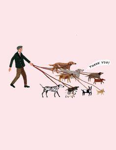 dog walker thank you card by beccastadtlander on Etsy, $3.95