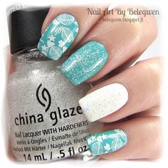 Nail Art by Belegwen: Essence Grab This Hype, China Glaze The Outer Edge, Gina Tricot White, Depend 335 and Essence Saprkle Sand Top Coat.