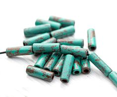17x6mm, 6 Pcs Greek Tube Beads, Tube Spacer Beads, Earthy Jewelry Supplies…