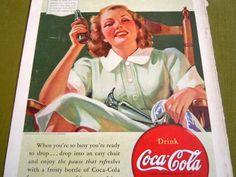 Vintage 1940 Coca Cola Company Coke Ad Advertisement Maid Glass Coke Bottle  #CocaCola