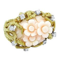 Carved Coral Flower Diamond Gold Cocktail Ring