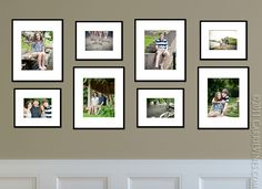 this is a nice grouping when you have many images you want to use.  I believe that this would look great in my hallway!  Smaller pictures combined can look cluttered if there are too many.  By using the same mat and frame on each, this connects the pictures.