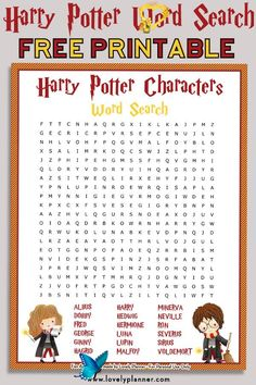 Free Printable Harry Potter Characters Word Search Puzzle - Lovely Planner  <br> Free printable Harry Potter Characters word search puzzle + solution sheet. Use it as a Harry Potter party activity, party favor or for your own enjoyment. Character Words, Crossword Puzzles, Harry Potter Characters, Party Activities, Free Printables, Crossword, Free Printable