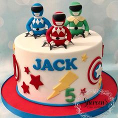 Tortas Power Rangers, Bolo Power Rangers, Power Rangers Birthday Cake, Power Ranger Cake, Pawer Rangers, Power Ranger Party, 5th Birthday Cake, Adult Birthday Cakes, Superhero Cake