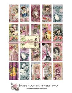 Digital collage sheet Vintage  Domino Sheet Two ... cards tags jewelry scrapbooking journaling. $3.85, via Etsy.