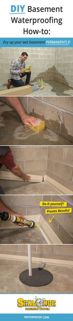 12 Step DIY Basement Waterproofing Guide - How to dry up your wet basement with the SealOnce Basement System. Basement Finishing Systems, Basement Systems, Dry Basement, Basement House, Basement Flooring, Basement Waterproofing, Basement Ideas, Basement Decorating, Basement Ceilings
