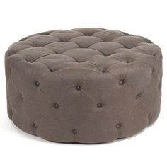 Paris Tufted Round Ottoman - Light Brown Linen | Scenario Home