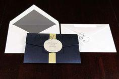 navy and yellow letterpress pocketfold invitation created at Chic Ink