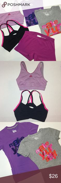 5 Piece WORKOUT BUNDLE! (Size Small) Bundle includes: 2 dri-fit Nike Tees (purple and grey), 1 purple and pink adidas sports bra, 1 seamless pink/black cross back sports bra (similar to Lululemons strappy back bras), 1 New Balance short short in magenta. All are in great condition but have been worn. Priced very fairly considering the individual prices of each item. Nike Tops Tees - Short Sleeve