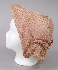 """1863-67 ... Bonnet ... silk ... length (at top): 8.25"""" ... American ... at The Metropolitan Museum of Art ... photo 1"""