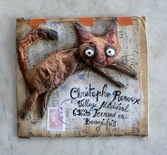 Fun kitty art mail packaging by Cathy Mouis ~ le blog de Christophe Renoux Vagabondage