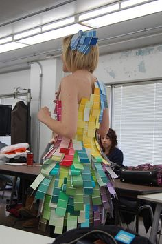 the paint chip dress ((for my sister's upcycle / recycling project) ) hahaha awesome... dont know where you would wear this but fun to try!