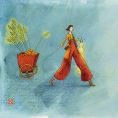 """Gaëlle Boissonnard square card (14 cm) """"Le chariot de Noël"""""""