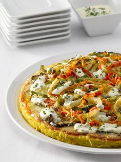 Pizza de polenta cremosa