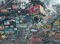A crazy detailed look at Mega-City Two by Ulises Farinas - GeekDraw