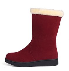 Aisun Womens Comfy Warm Detachable Bowknot Round Toe Flat Slip On Mid Calf Snow Boots Shoes Red 4 BM US >>> You can get more details by clicking on the image.