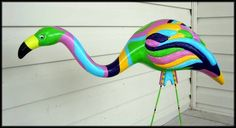 Yard Art Inspiration - yes painted over plastic flamingos by Jenxx on Craftster. #loveit #gardengoodies #DIYcraftsandart http://www.craftster.org/forum/index.php?topic=443474.0