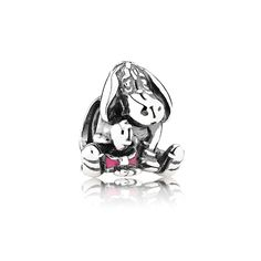The PANDORA Disney Eeyore Charm is a sterling silver charm that features Eeyore the donkey, complete with a pink bow on his tail. This charm will have you remembering all of your favorite Pooh characters: Christopher Robin, Eeyore, Pooh & Piglet! Pandora Charms Disney, Pandora Beads, Pandora Bracelets, Pandora Jewelry, Charm Bracelets, Silver Bracelets, Bracelet Charms, Necklace Charm, Bangles
