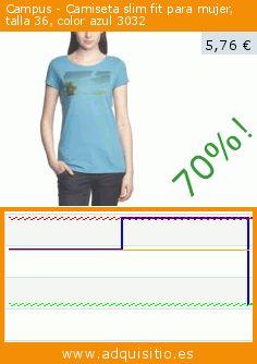 Campus - Camiseta slim fit para mujer, talla 36, color azul 3032 (Ropa). Baja 70.046801872075%! Precio actual 5,76 €, el precio anterior fue de 19,23 €. https://www.adquisitio.es/campus/camiseta-slim-fit-mujer-5