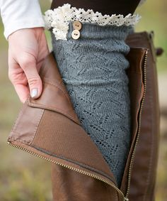 Dark Gray Lace Leg Warmers
